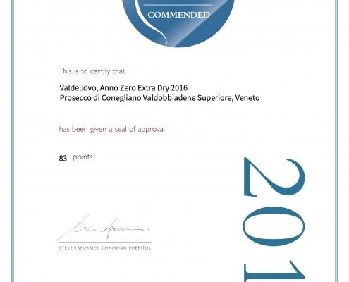 Diploma Decanter AnnoZero Valdellovo prosecco
