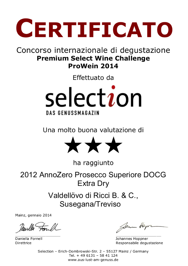 Certificato_PremiumSelectWineChallengeProwein2014 Anno Zero
