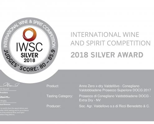 IWSC 2018 silver medal annozero prosecco valdellovo