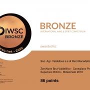 Certificate IWSC Bronze 2019_prosecco docg_Zero Nove_brut_Valdellovo